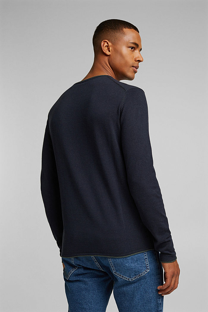 Fine knit jumper made of organic cotton, NAVY, detail image number 3