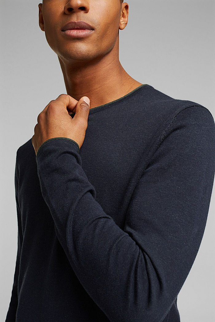 Fine knit jumper made of organic cotton, NAVY, detail image number 2