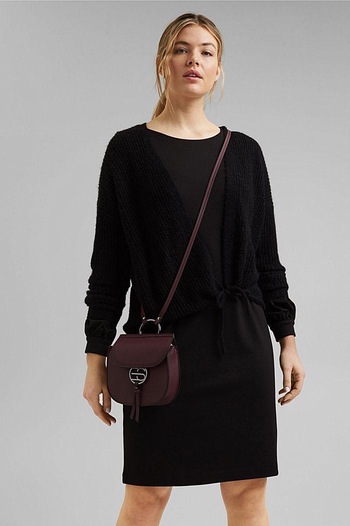 Vegan: small shoulder bag, BORDEAUX RED, detail image number 1