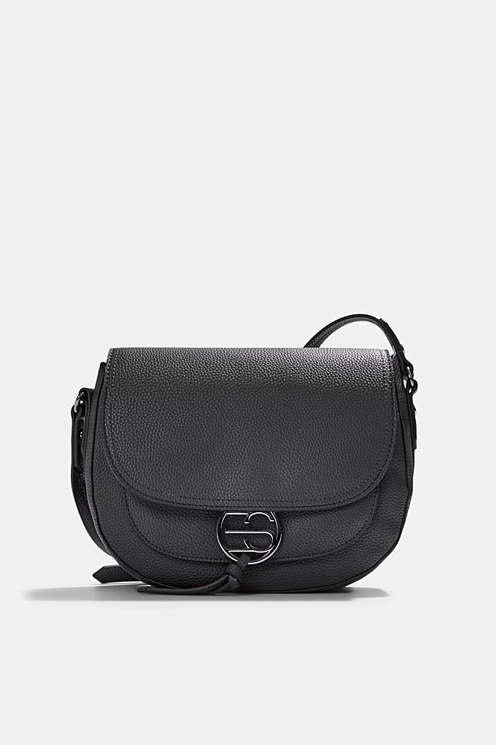 Vegan: Faux leather saddle bag, BLACK, detail image number 0