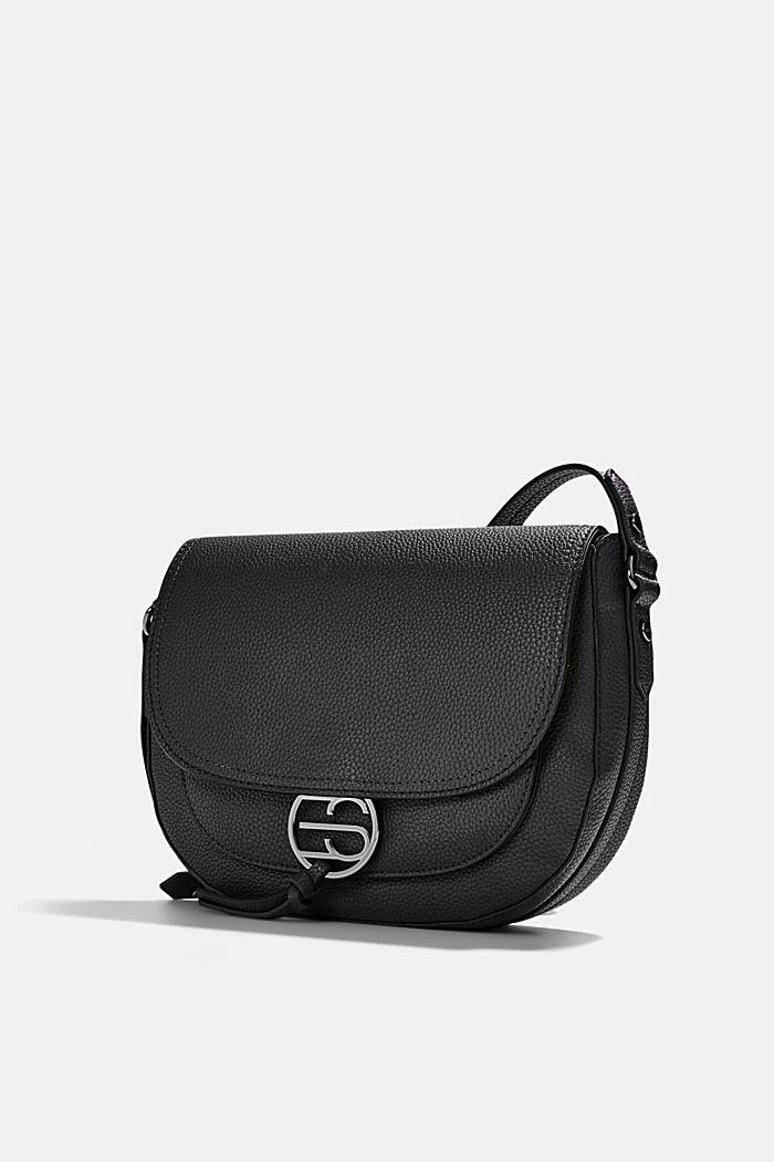 Vegan: Faux leather saddle bag, BLACK, detail image number 2