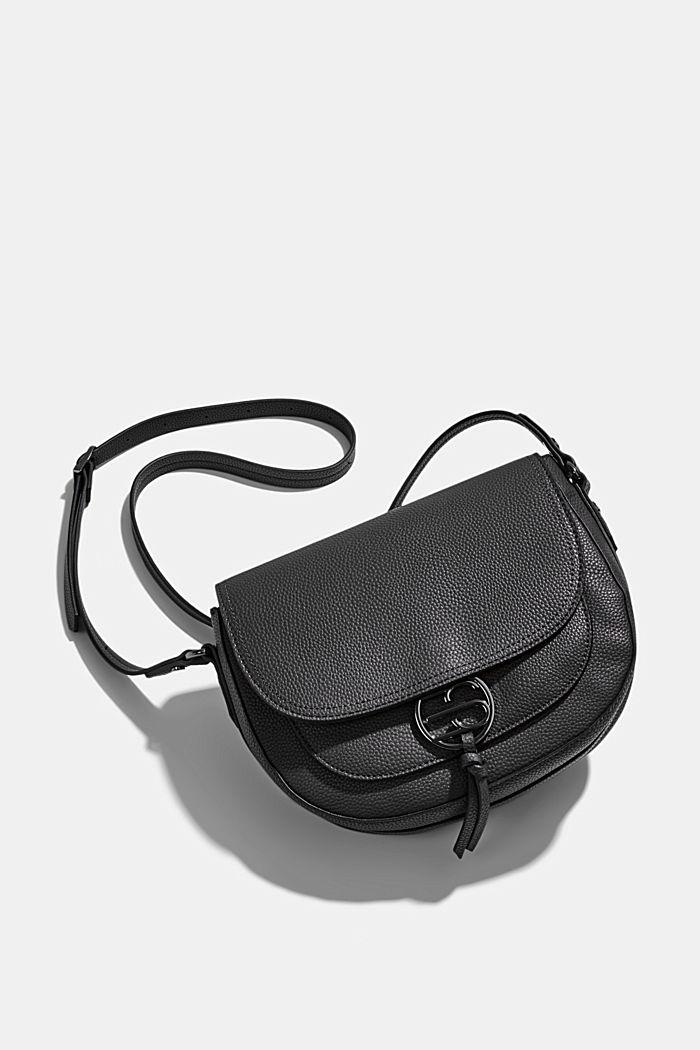 Vegan: Faux leather saddle bag, BLACK, detail image number 6