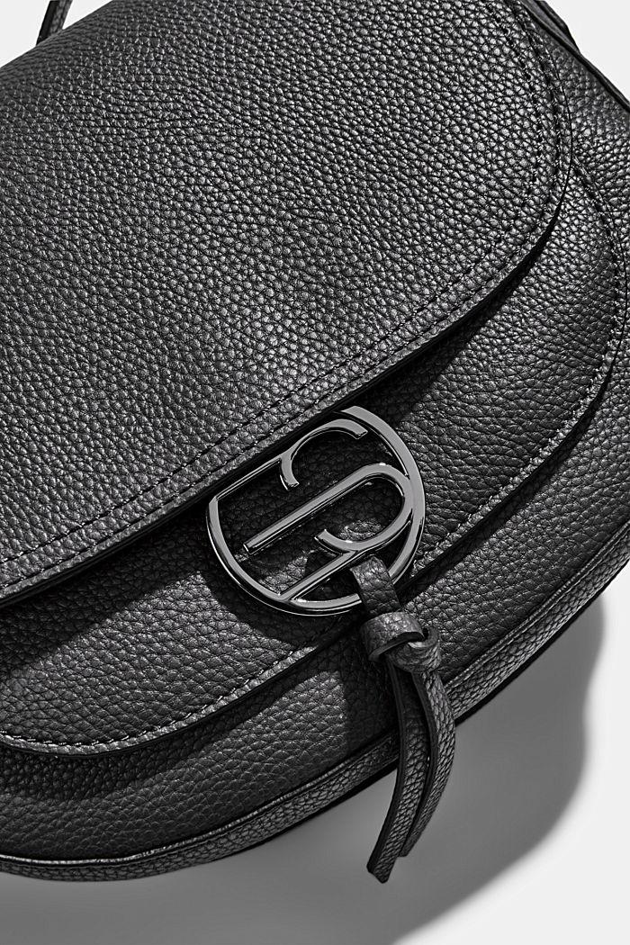 Vegan: Faux leather saddle bag, BLACK, detail image number 3