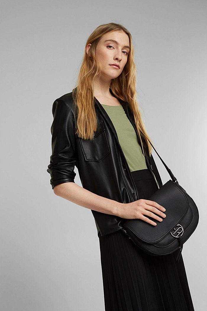 Vegan: Faux leather saddle bag, BLACK, detail image number 1