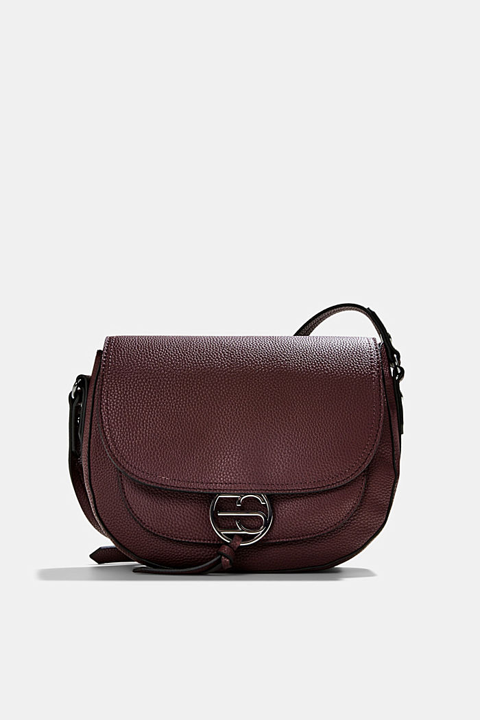 Vegan: Faux leather saddle bag, BORDEAUX RED, detail image number 0