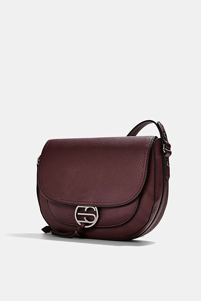 Vegan: Faux leather saddle bag, BORDEAUX RED, detail image number 2