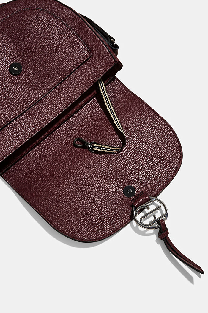 Vegan: Faux leather saddle bag, BORDEAUX RED, detail image number 4