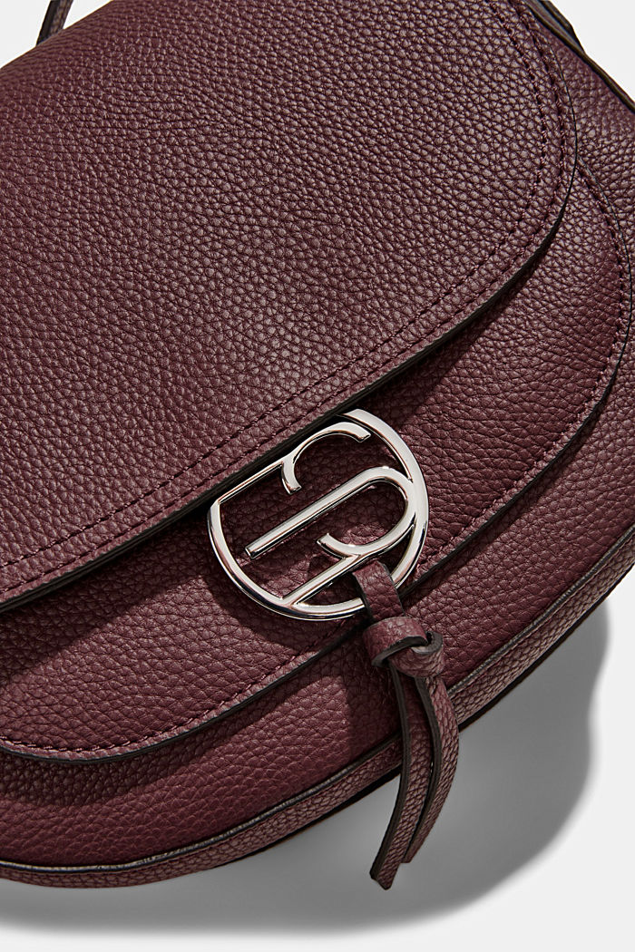 Vegan: Faux leather saddle bag, BORDEAUX RED, detail image number 3