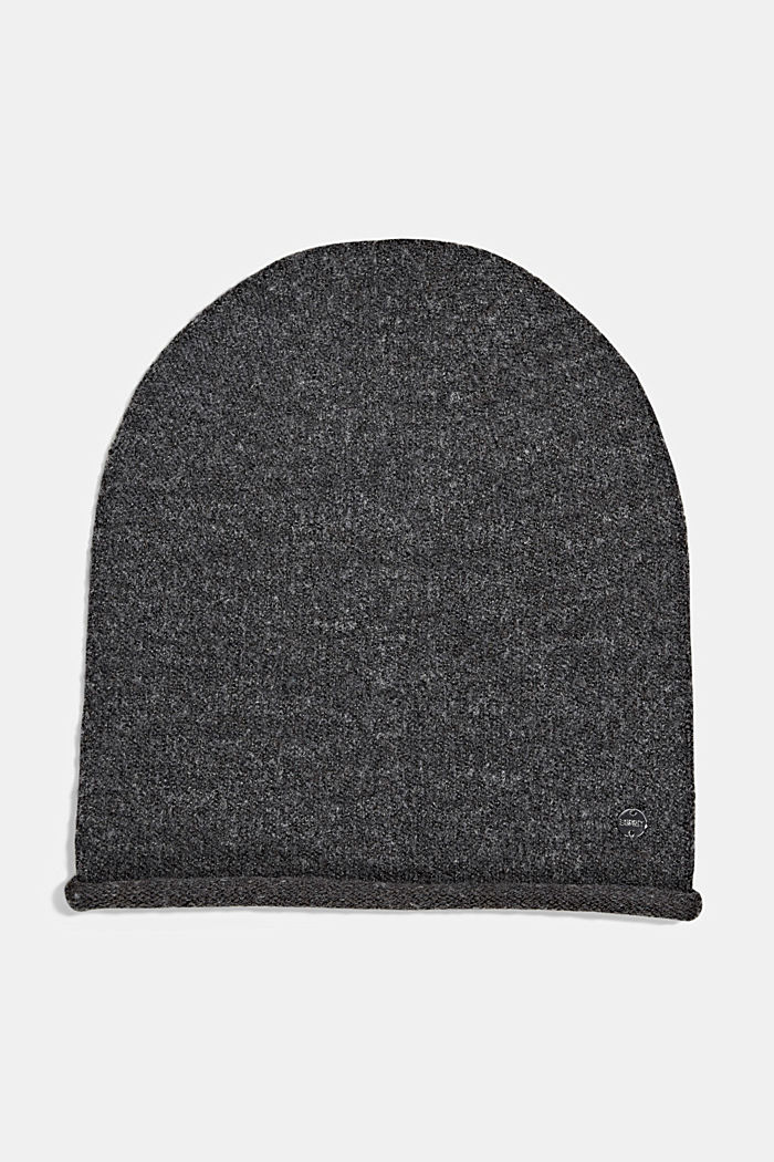 Wool blend: Hat with a rolled edge, ANTHRACITE, detail image number 0