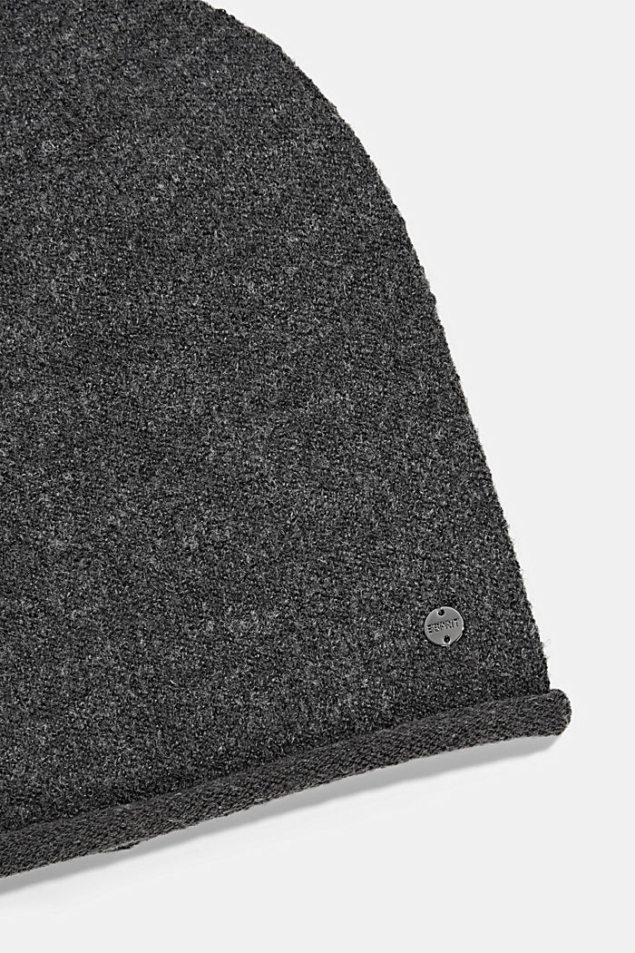 Wool blend: Hat with a rolled edge, ANTHRACITE, detail image number 1