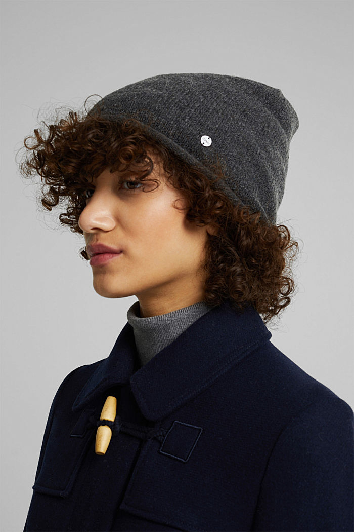 Wool blend: Hat with a rolled edge, ANTHRACITE, detail image number 2