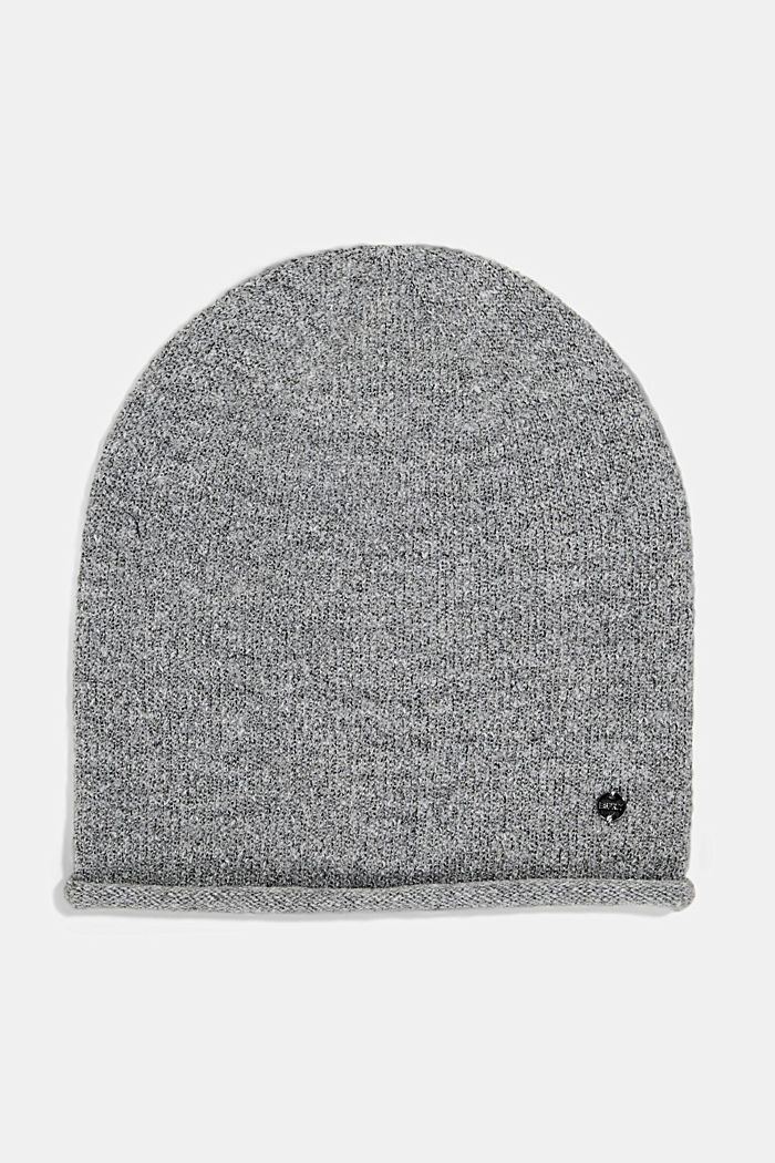 Wool blend: Hat with a rolled edge, MEDIUM GREY, detail image number 0