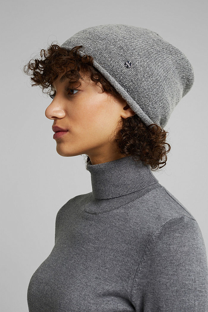 Wool blend: Hat with a rolled edge, MEDIUM GREY, detail image number 2