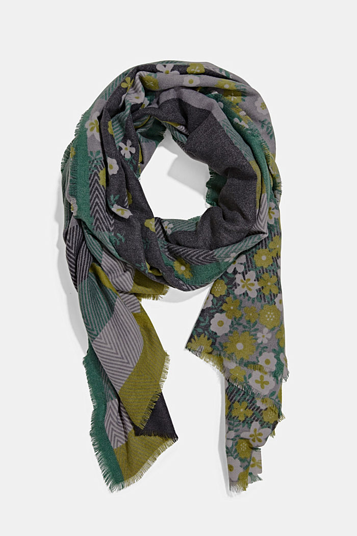 Recycled: woven scarf with a mix of patterns, DARK GREEN, detail image number 0