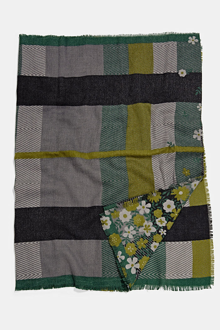 Recycled: woven scarf with a mix of patterns, DARK GREEN, detail image number 3