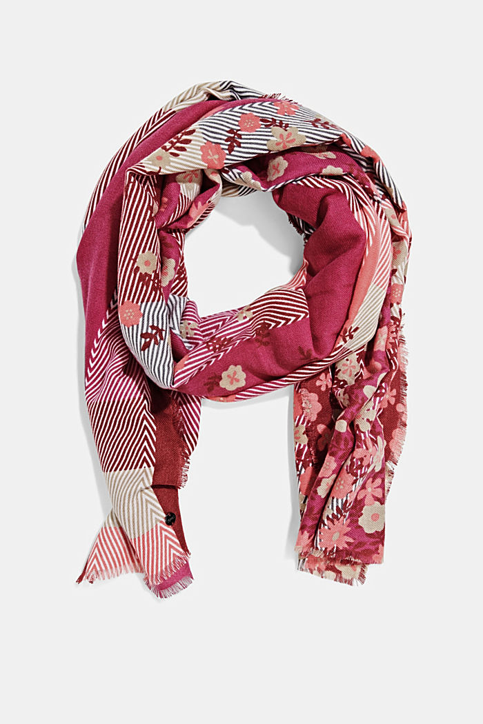 Recycled: woven scarf with a mix of patterns, DARK PINK, detail image number 0