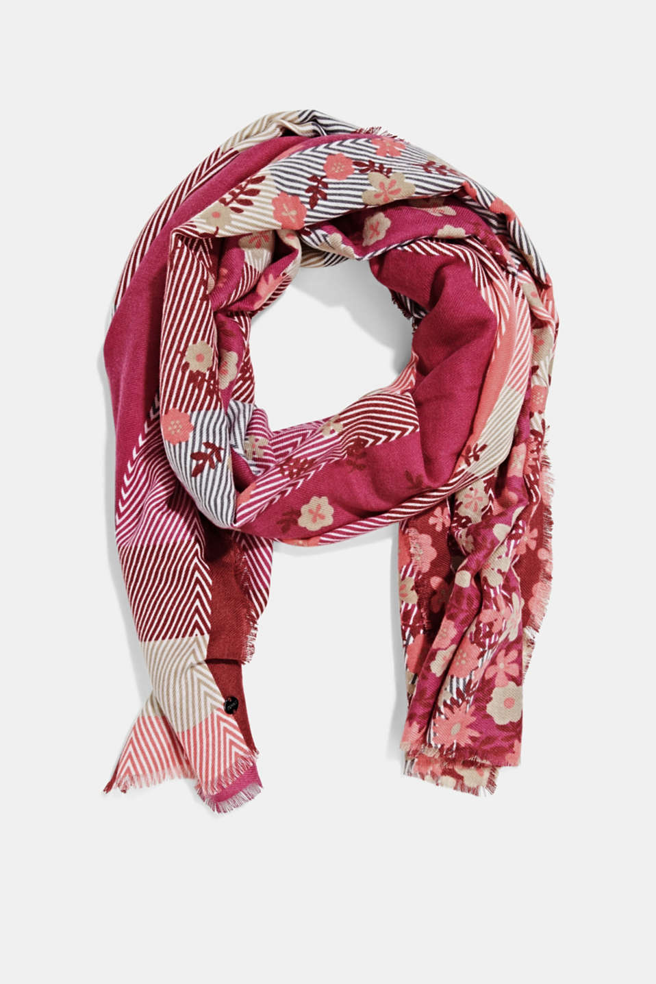 Esprit - Recycled: woven scarf with a mix of patterns