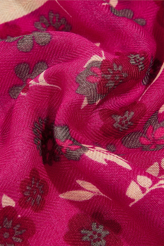 Recycled: Woven scarf with flora print, DARK PINK, detail image number 2