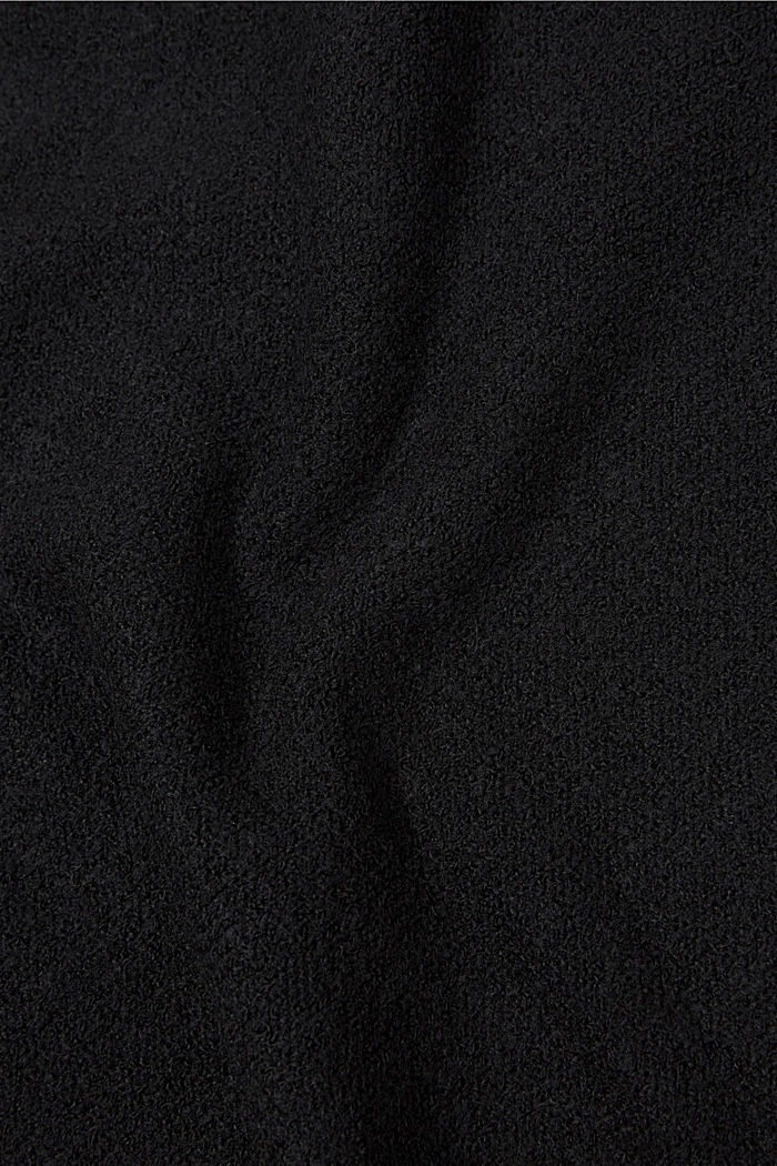 Scarf with a percentage of wool and rolled edges, BLACK, detail image number 2