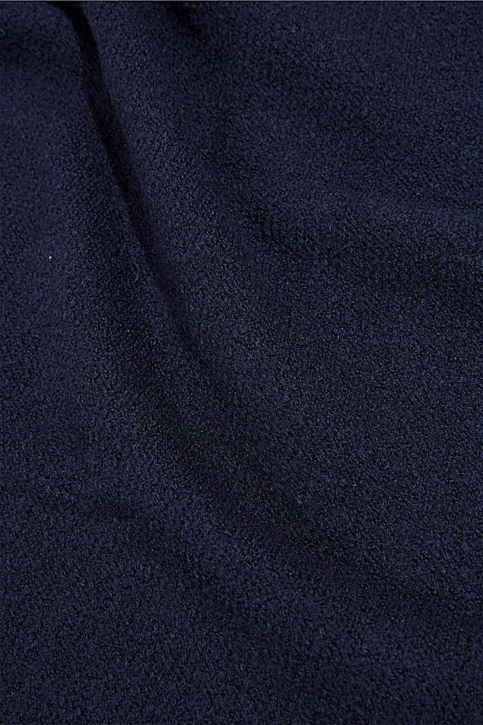 Scarf with a percentage of wool and rolled edges, NAVY, detail image number 2