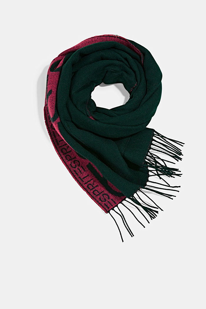 Recycled: Jacquard scarf with pockets, DARK GREEN, detail image number 0