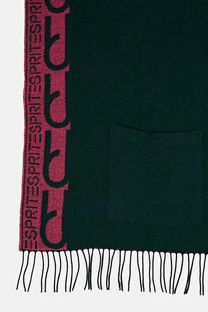 Recycled: Jacquard scarf with pockets, DARK GREEN, detail image number 2