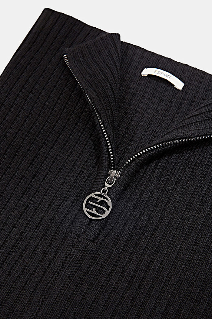 Made of merino wool: snood with a logo zip, BLACK, detail image number 2