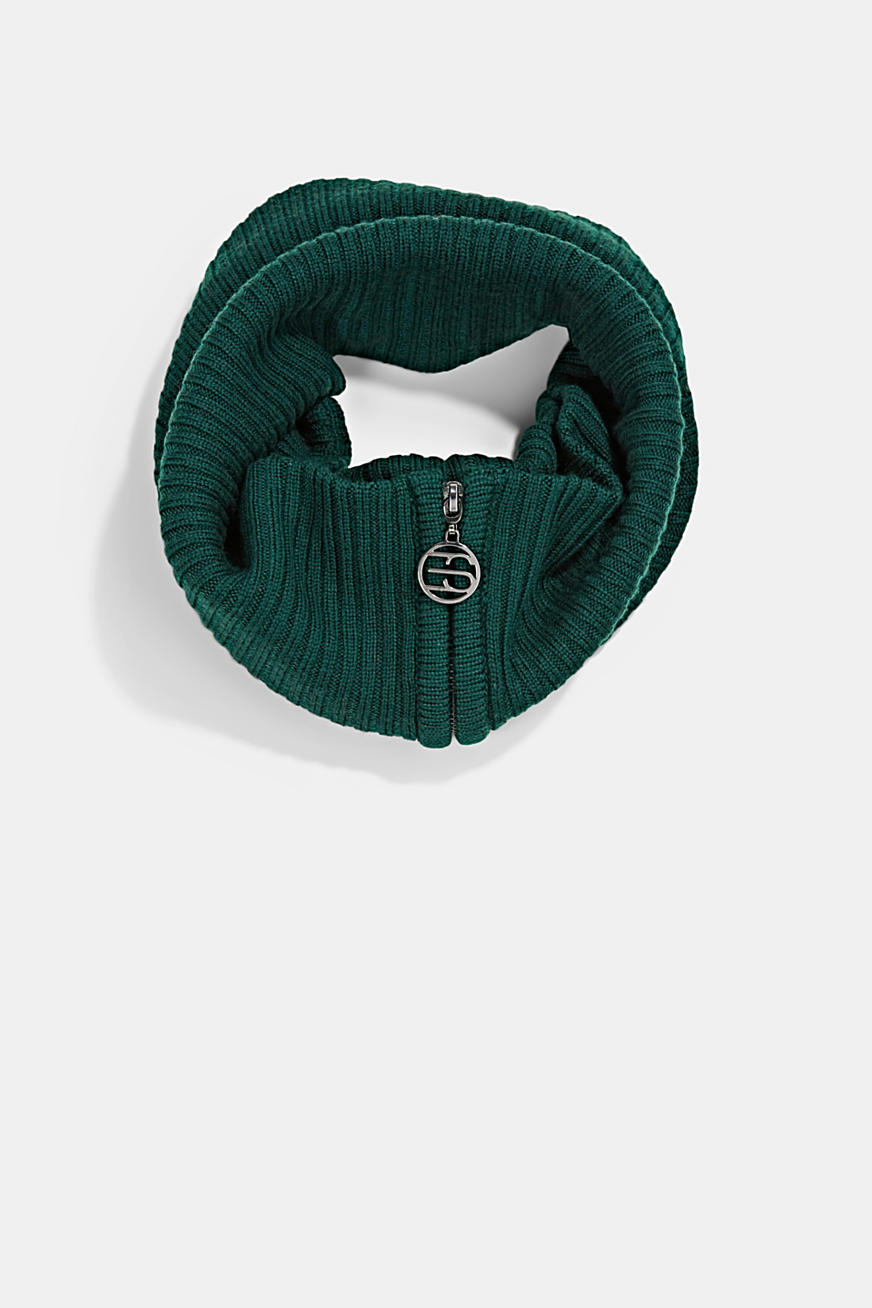 Made of merino wool: snood with a logo zip