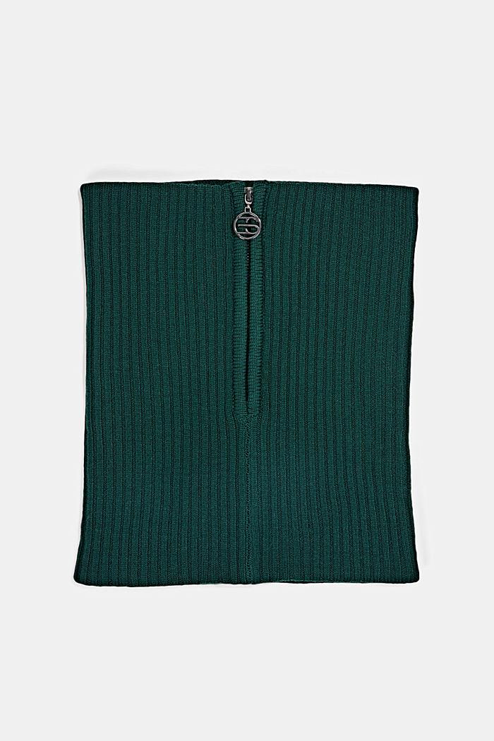 Made of merino wool: snood with a logo zip, DARK GREEN, detail image number 3