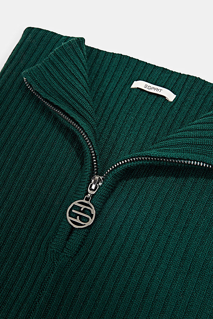 Made of merino wool: snood with a logo zip, DARK GREEN, detail image number 2