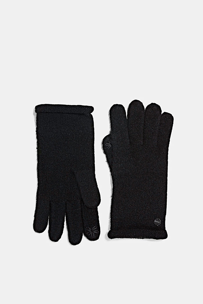 Mit Wolle: Touchscreen-Handschuhe, BLACK, detail image number 0