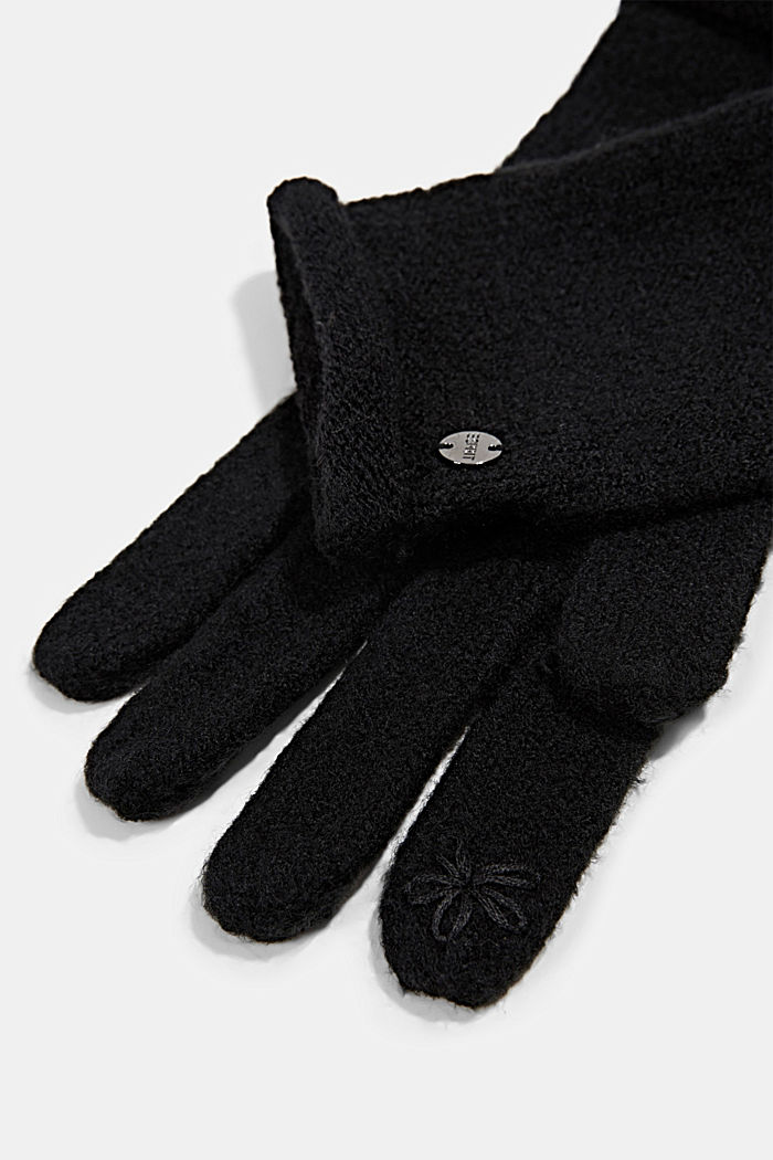 Mit Wolle: Touchscreen-Handschuhe, BLACK, detail image number 1