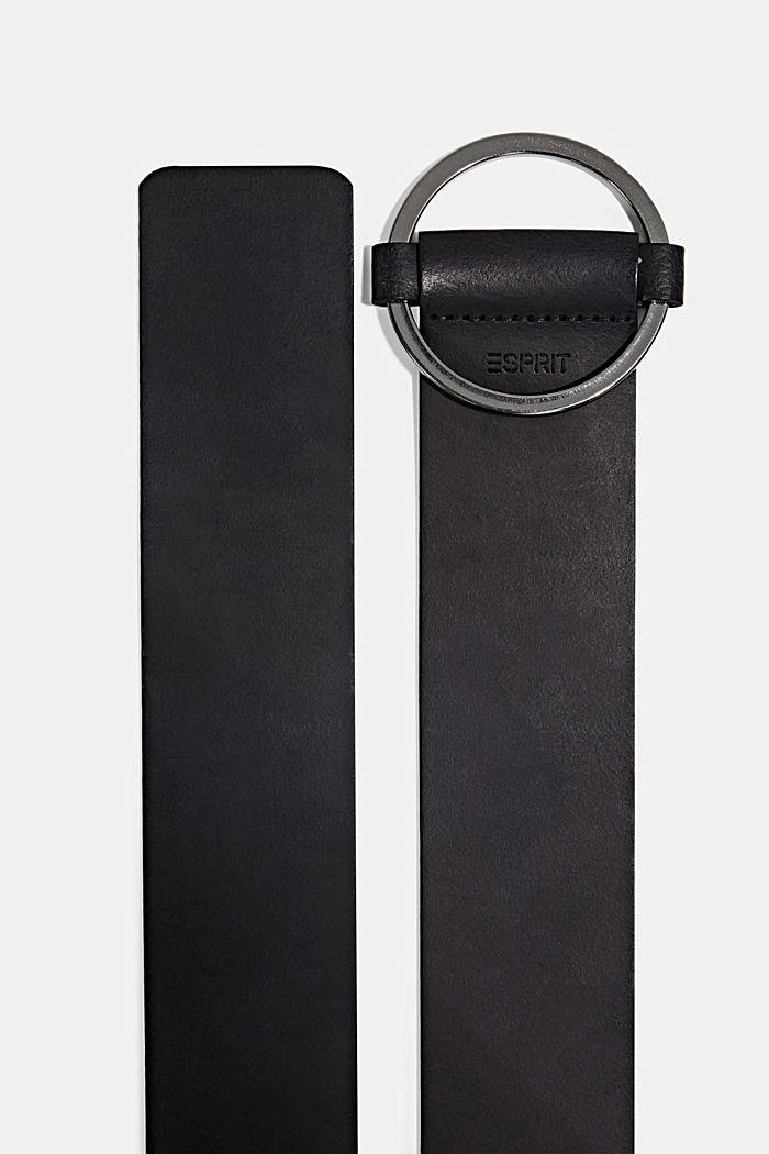 Wide leather waist belt, BLACK, detail image number 1