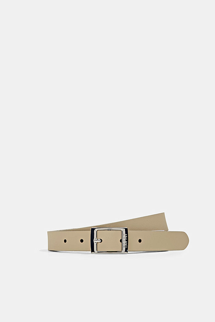 Narrow leather belt, SAND, detail image number 0