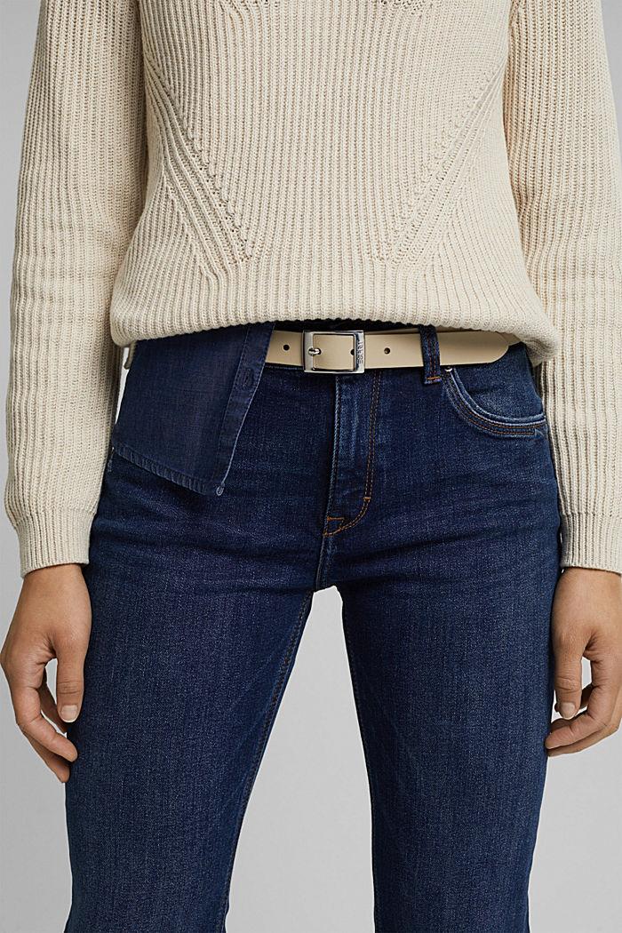 Narrow leather belt, SAND, detail image number 2