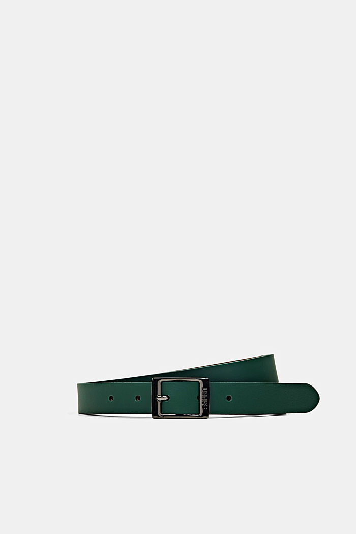 Narrow leather belt, DARK GREEN, detail image number 0