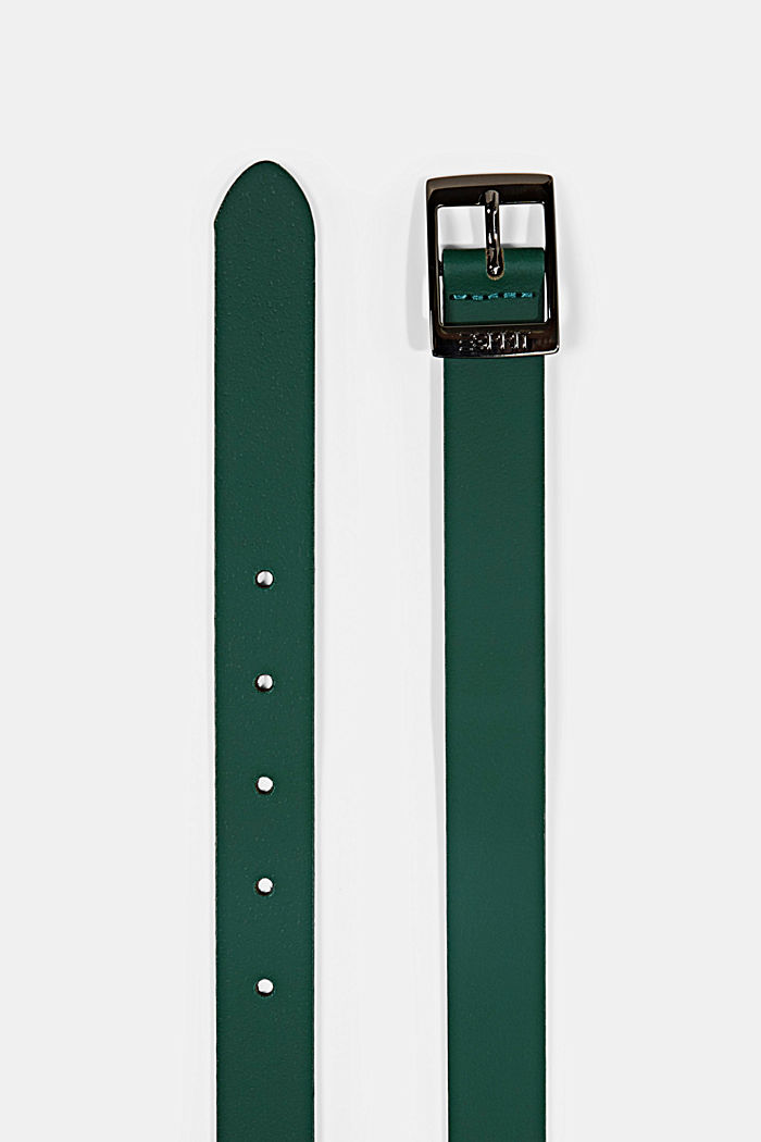 Narrow leather belt, DARK GREEN, detail image number 1