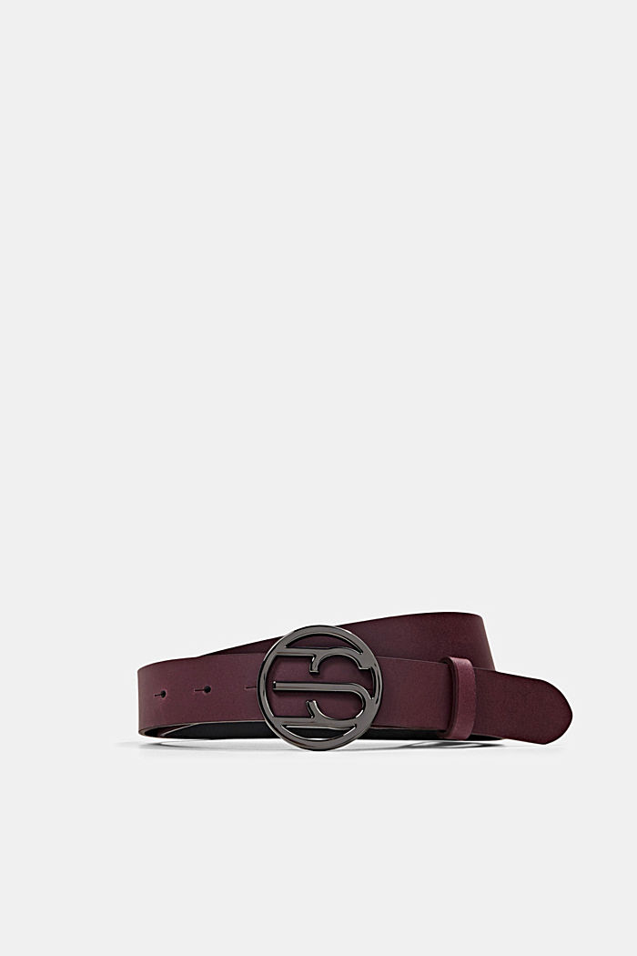 Leather belt with a monogram buckle, BORDEAUX RED, detail image number 0
