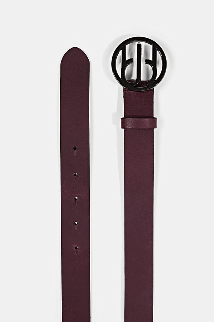 Leather belt with a monogram buckle, BORDEAUX RED, detail image number 1