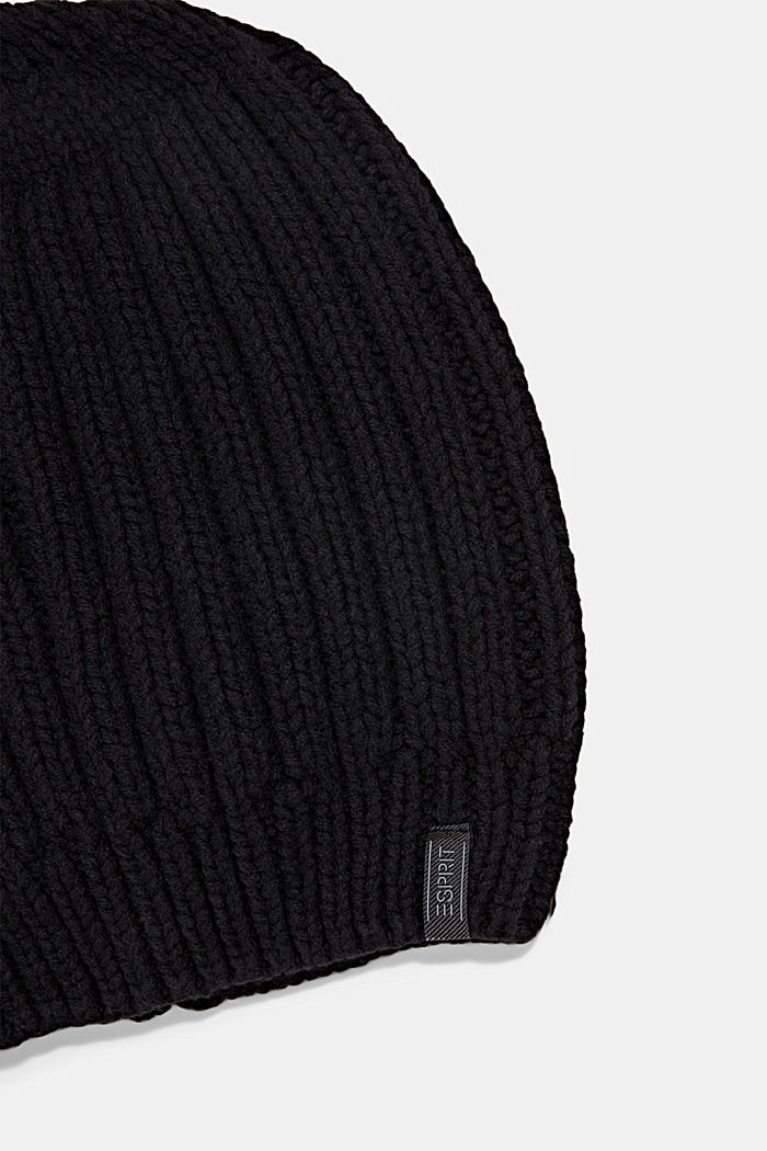 Rib knit beanie with organic cotton, BLACK, detail image number 1