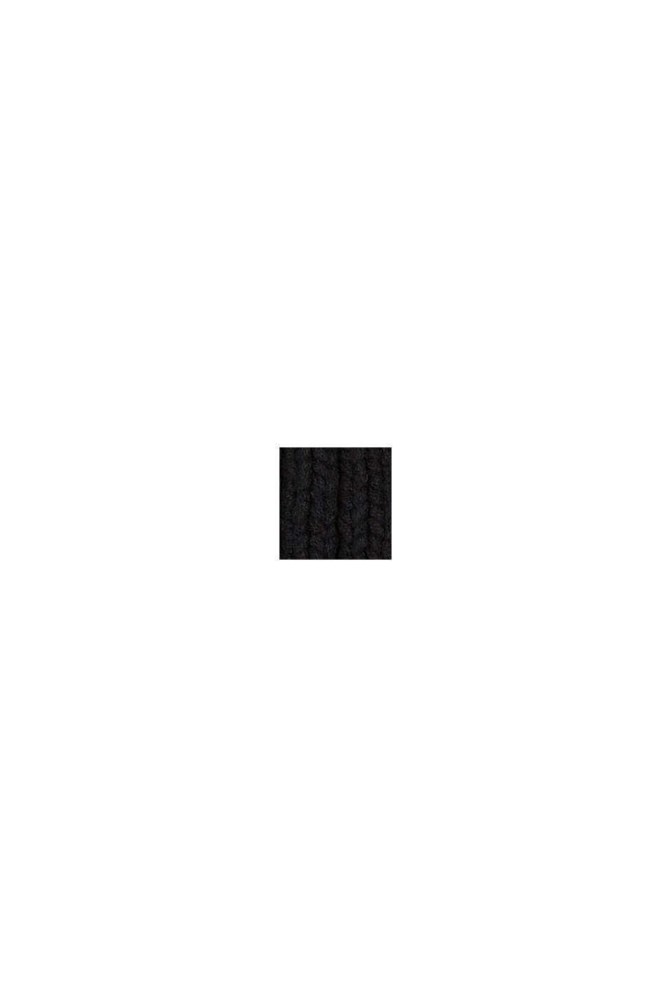 Rippstrick-Beanie mit Bio-Baumwolle, BLACK, swatch