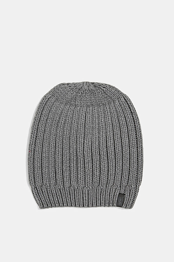 Rib knit beanie with organic cotton, GREY, detail image number 0
