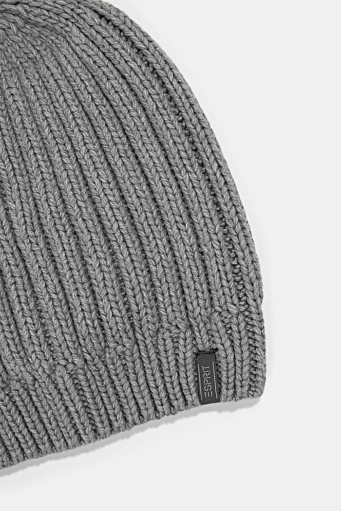 Rib knit beanie with organic cotton, GREY, detail image number 1