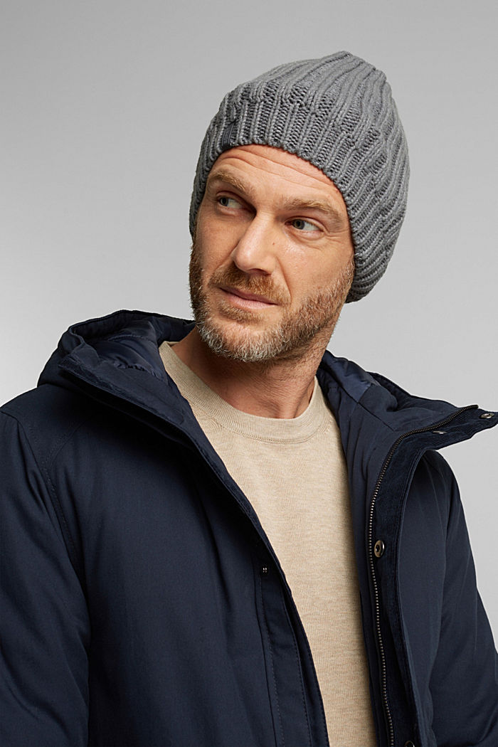 Rib knit beanie with organic cotton, GREY, detail image number 2