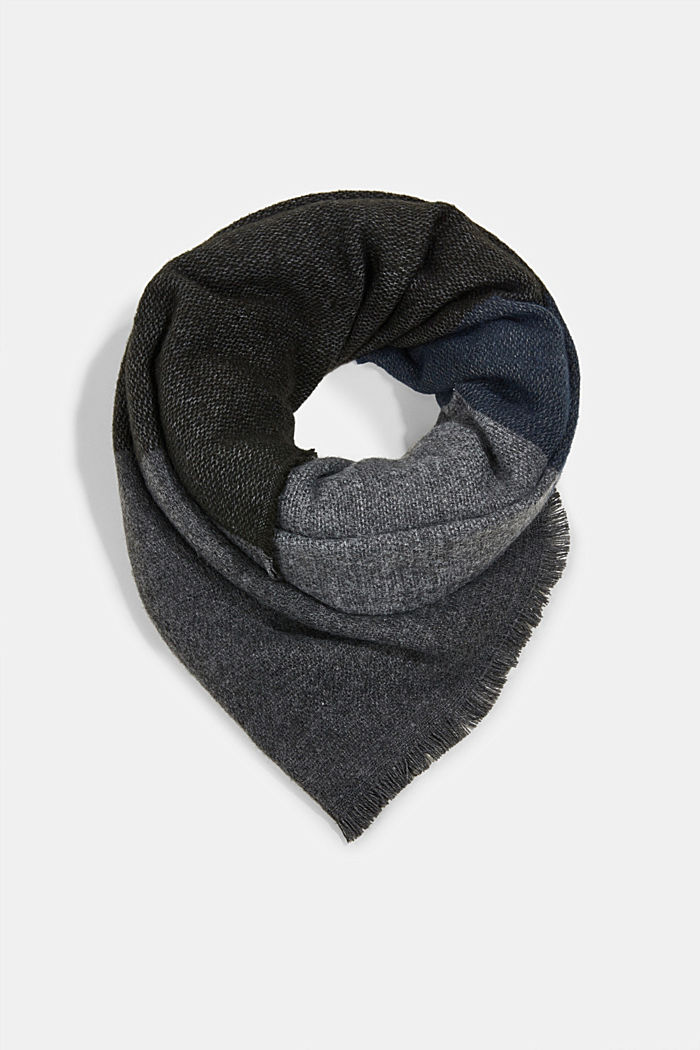 Recycled: block stripe scarf, DARK GREY, overview