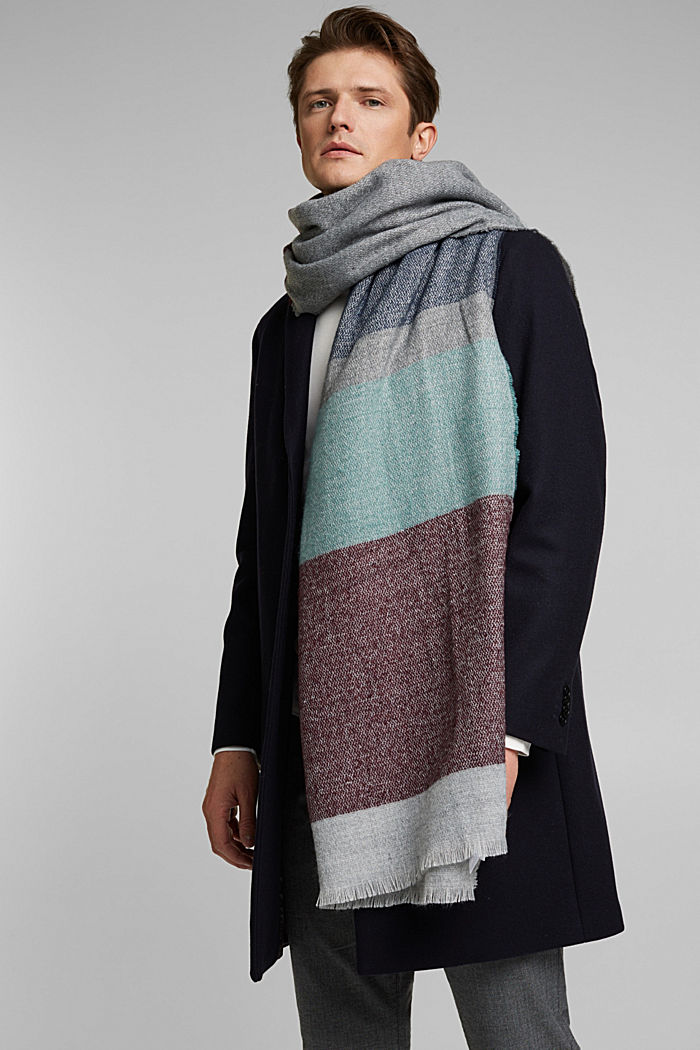 Recycled: block stripe scarf, LIGHT GREY, detail image number 1