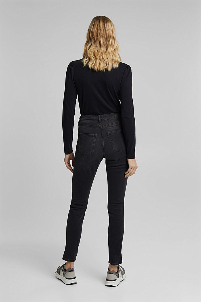 Recycled: skinny jeans with a high waistband, BLACK DARK WASHED, detail image number 3