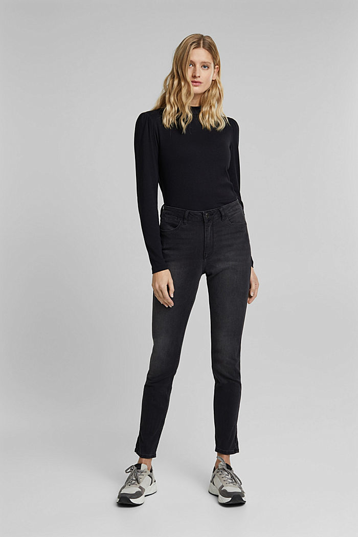Recycled: skinny jeans with a high waistband, BLACK DARK WASHED, detail image number 6