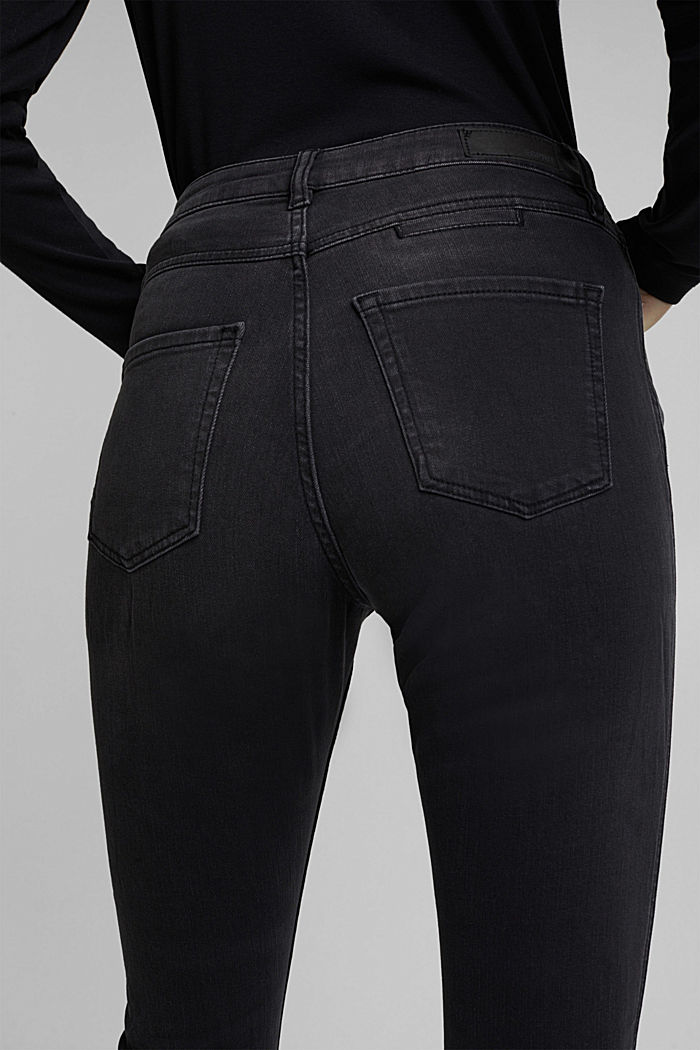 Recycled: skinny jeans with a high waistband, BLACK DARK WASHED, detail image number 5