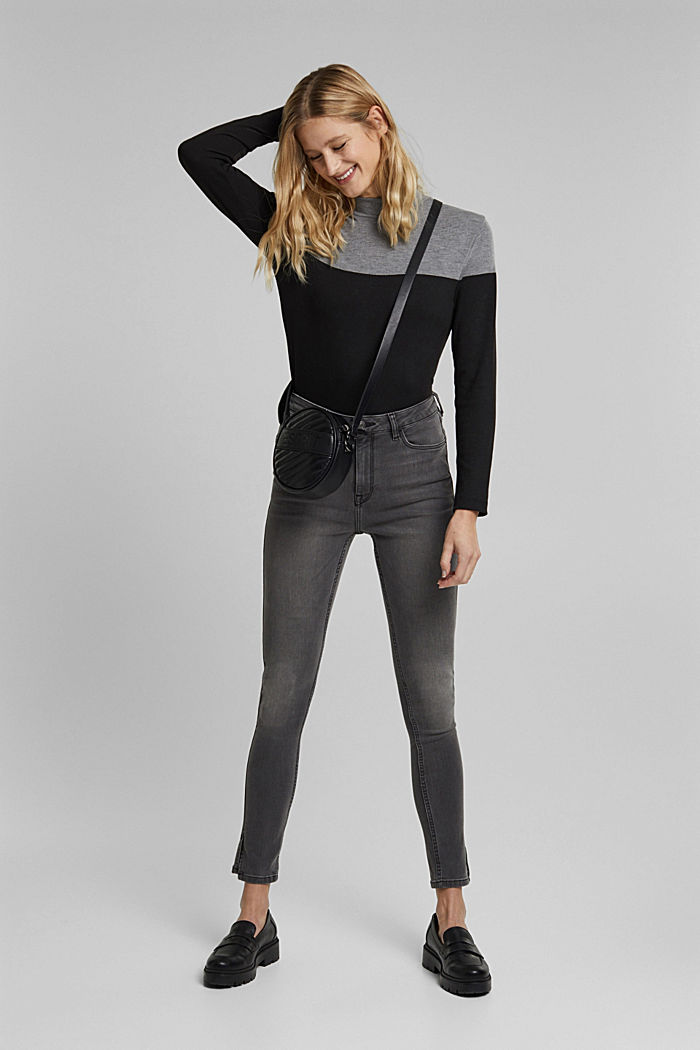 Recycelt: Skinny-Jeans mit hohem Bund, GREY MEDIUM WASHED, detail image number 1